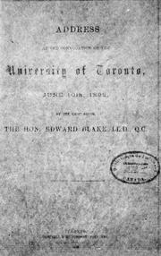 Cover of: Address at the convocation of the University of Toronto, June 10th, 1892