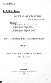 Cover of: The St. Catharine's Milling and Lumber Company v. the Queen