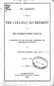 Cover of: Statement in regard to the Canadian government and the Canadian Pacific Railway, submitted to the Senate Committee on Interstate Commerce