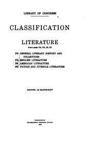 Cover of: Classification. Literature, subclasses PN, PR, PS, PZ. | Library of Congress. Subject Cataloging Division.