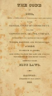 Cover of: The Code of 1650 | Connecticut.