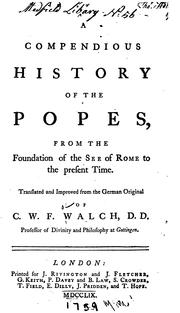 Cover of: A compendious history of the popes