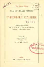 Cover of: complete works of Théophile Gautier | ThГ©ophile Gautier