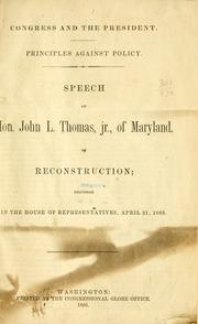Cover of: Congress and the President. | John Lewis Thomas