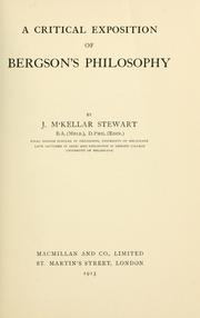 Cover of: critical exposition of Bergson