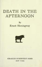 Cover of: Death in the afternoon