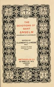 Cover of: The devotions of Saint Anselm, Archbishop of Canterbury