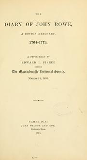 Cover of: The diary of John Rowe