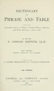 Cover of: Dictionary of phrase and fable | Ebenezer Cobham Brewer