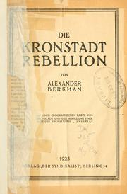 Cover of: Die Kronstadt Rebellion