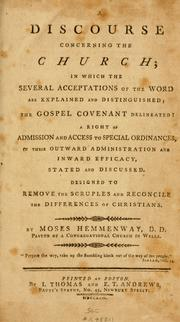 Cover of: A discourse concerning the church | Moses Hemmenway