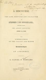 Cover of: A discourse on the life, services and character of Stephen Van Rensselaer | Daniel D. Barnard