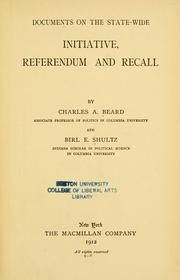 Documents on the state-wide initiative, referendum and recall by Charles Austin Beard
