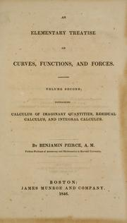 Cover of: An elementary treatise on curves, functions, and forces