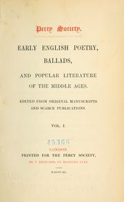 Cover of: Early English poetry, ballads, and popular literature of the Middle Ages | Percy Society