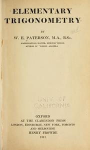 Elementary Trigonometry by W.E. Patterson