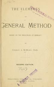 Cover of: The elements of general method based on the principles of Herbart