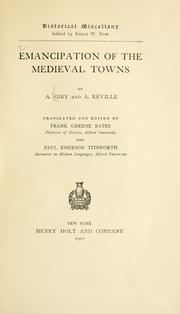 Cover of: Emancipation of the medieval towns | Arthur Giry
