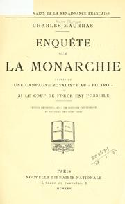 Cover of: Enquête sur la monarchie | Maurras, Charles