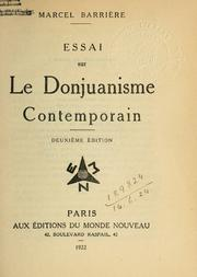Cover of: Essai sur le Donjuanisme contemporain