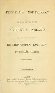 "Cover of: Free trade ""not proven,"" in seven letters to the people of England"
