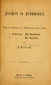 Cover of: Freiheit in Krähwinkel