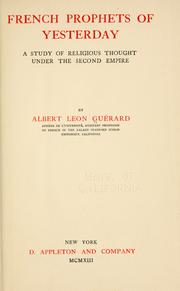 Cover of: French prophets of yesterday | Albert LГ©on GuГ©rard