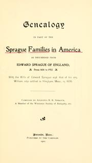 Cover of: Genealogy in part of the Sprague families in America