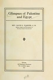 Cover of: Glimpses of Palestine and Egypt