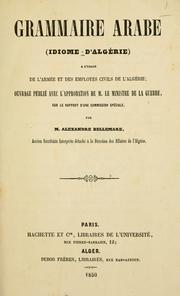 Cover of: Grammaire arabe by Alexandre Bellemare