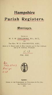 Cover of: Hampshire parish registers. Marriages by Phillimore, W. P. W.