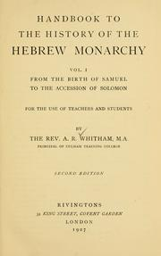 Handbook to the history of the Hebrew monarchy ...