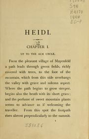 Cover of: Heidi, her years of wandering and learning: a story for children and those who love children.