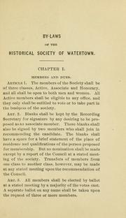Cover of: Historical society, Watertown, Massachusetts. | Historical Society of Watertown (Mass.)
