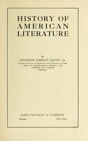 Cover of: History of American literature