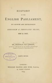 Cover of: History of the English Parliament