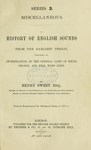 Cover of: A history of English sounds from the earliest period