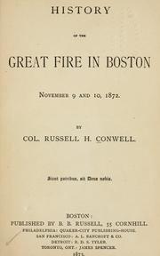 Cover of: History of the great fire in Boston, November 9 and 10, 1872