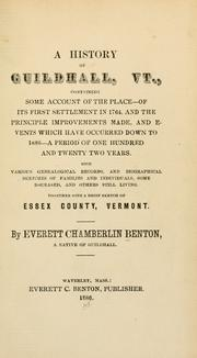 Cover of: history of Guildhall, Vt. | Everett Chamberlin Benton