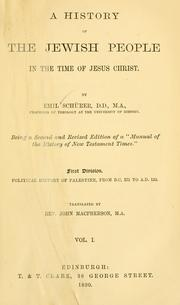 Cover of: A history of the Jewish people in the time of Jesus Christ ... | Emil SchuМ€rer