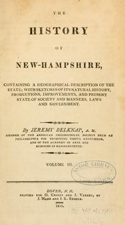 Cover of: The history of New Hampshire... | Jeremy Belknap