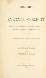 Cover of: History of Ryegate, Vermont by Edward Miller