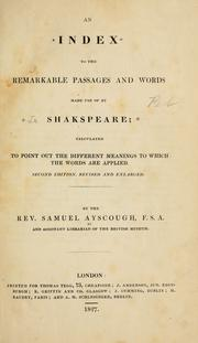 Cover of: An index to the remarkable passages and words made use of by Shakspeare
