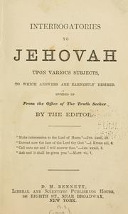 Cover of: Interrogatories to Jehovah | Bennett, De Robigne Mortimer