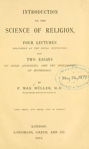 Cover of: Introduction to the science of religion