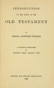 Cover of: Introduction to the study of the Old Testament