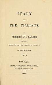 Cover of: Italy and the Italians | Friedrich von Raumer