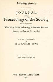 Cover of: Journal of the proceedings of the Society | Anthology Society, Boston