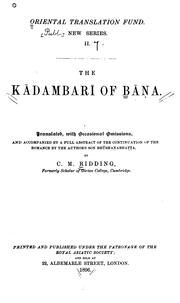 Cover of: Kadambari of Bana. | Bana.