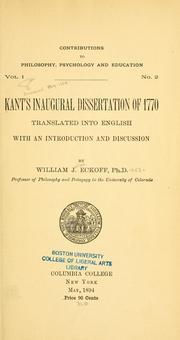 Kant dissertation